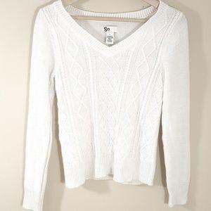 SO Sparkle White V-Neck Pullover Sweater, Size L